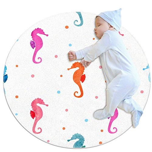rogueDIV Watercolor Sea Horses Baby kruipmat spelen deken vloer play mat kinderen baby kinderen mobiele circulaire tapijt, 27.6x27.6IN