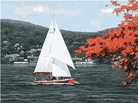 """番号でペイント 白い帆船 3つの絵筆で絵筆を描く子供初心者大人のためのDIY油絵キット–家の壁の装飾のための16""""W x 20"""" Lフレームレス"""