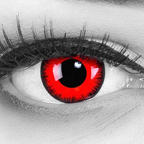 Lentillas de color rojo negro Red Lunatic con borde negro 1 par. Calidad superior para Halloween Carnaval, carnaval de Halloween gratis estuche de lentillas sin graduación