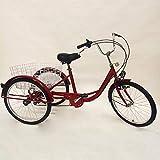 Triciclo para adultos Triciclo para adultos Bicicleta para adultos de 3 ruedas Triciclo para compras Bicicleta con cesta de la compra Bicicleta para adultos Ciclismo para hombres y mujeres (Rojo)