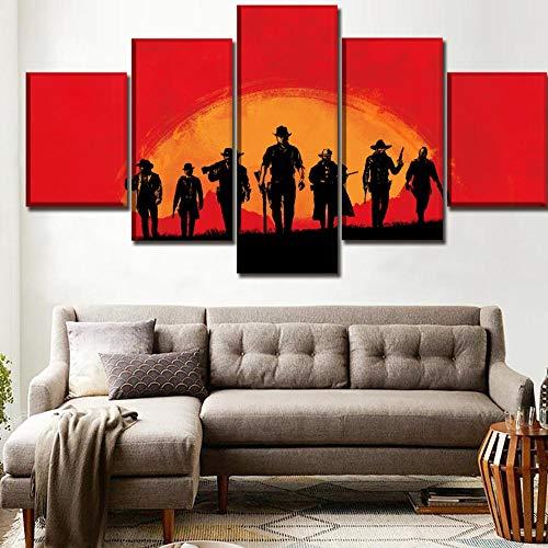 sansiwu Pinturas En Lienzo Arte De La Pared Decoración Juegos De 5 Paneles Red Dead Redemption 2 Poster Rockstar Picture Moderno Tipo...
