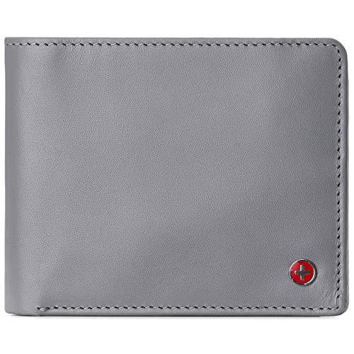 Alpine Swiss Spencer RFID-Geldbörse für Herren, 2 Ausweis-Fenster, geteiltes Geldscheinfach, glattes Leder, Lieferung in Geschenkbox - Grau - Einheitsgröße