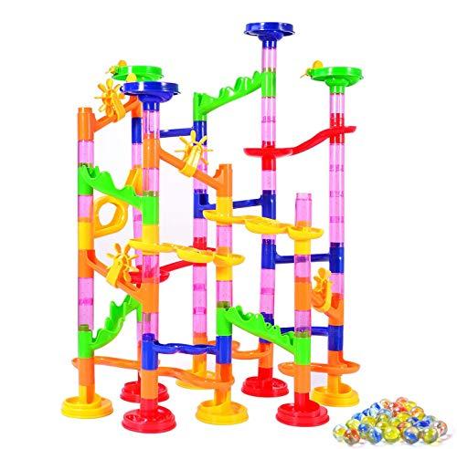 Kriogor 105 Pcs Kugelbahnen Marble Run Set mit Bahnelementen und Glasmurmeln, DIY Murmelbahn Bausteine Spiel, Lernspielzeug Frühkindliche Bildung Kinder