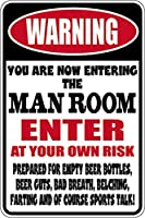 アルミニウム金属サインおかしい警告男の部屋に入る自分のリスク情報ノベルティ壁アート垂直