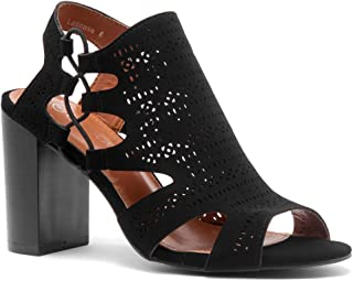 Shoe Land Lascasa Women's Laser Cut Open Toe Block Chunky Stacked Heel Sandal Mid Heel Comfortable Walking Shoes