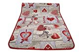 Centesimo Web Shop Tappeto GOMMATO in 7 Misure - Multiuso PASSATOIA Tappetino Cucina Fantasia Shabby Chic Cuori - - 55x140 cm Rosso