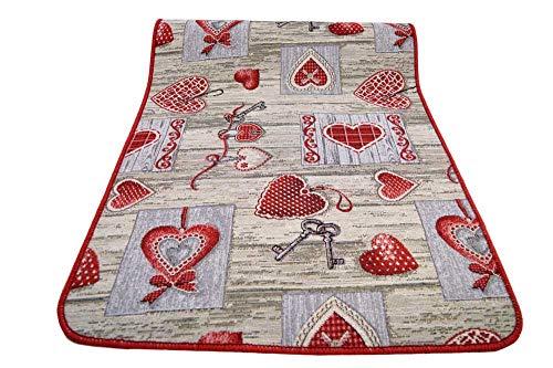 Centesimo Web Shop Tappeto GOMMATO in 7 Misure - Multiuso PASSATOIA Tappetino Cucina Fantasia Shabby Chic Cuori - - 55x290 cm Rosso