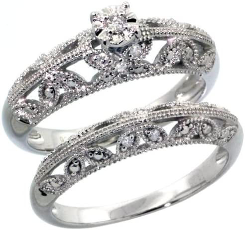 Sterling Silver Diamond Vintage security Style 11-Stone D Shipping included 2-Pc. Butterfly