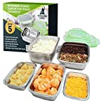 Brandenburg Stainless Steel Food Storage Containers | Set of 5 with Leak-Proof Lids | 100% BPA-Free & Eco-Friendly | Dishwasher & Freezer Safe | Space-Saving Nesting Design | Bento Lunch Box Set