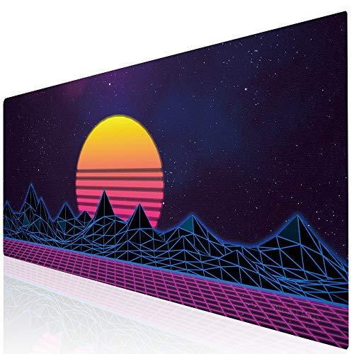 Imegny Large Gaming Mouse Pad, Extended XXL Desk Pad & Non-Slip Rubber Mat for Mice and Keyboard with Stitched Edges (90x40 zisesun011)
