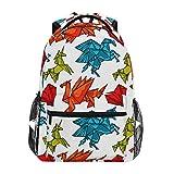 Ahomy Mochila Escolar para Adolescentes y niñas, Mochila de Viaje con diseño de Unicornio y dragón de Origami, Bolsa de Senderismo para Hombres y Mujeres