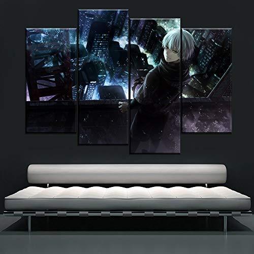Neyouyou Bilder 100X160cm - Leinwandbilder - Frameless - Vlies Leinwand - 4 Teilig - Wandbilder- Kunstdrucke - Wandbild - Tokyo Ghoul,100X160cm