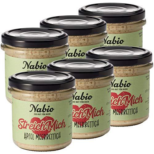 Nabio Bio Brot-Aufstrich Apfel Meerrettich - vegan, 6er Pack (6 x 130 g)