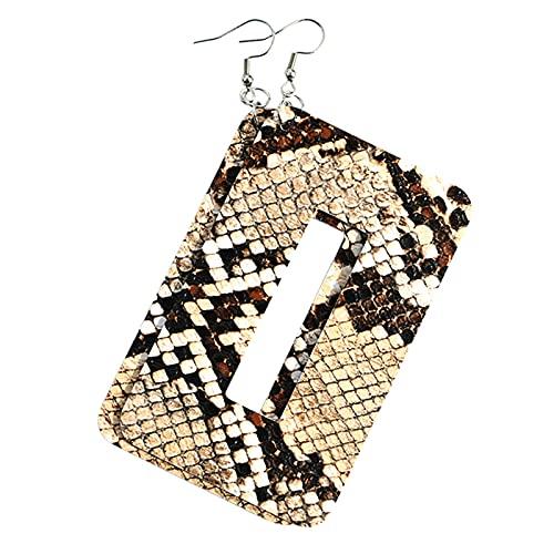 minjiSF Pendientes grandes de piel para mujer, joyas modernas, geométricos, veraniegos, rectangulares, patrón de leopardo, gotas, pendientes #007 Talla única