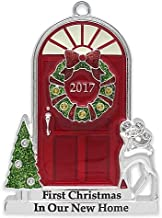 2017 Annual Door (in Red Box) Doorstep with Trees and Reindeer with Glow-in-the-Dark Windows Keepsake Harvey Lewis™ Silver-Plated Ornament - Made with Swarovski® Elements