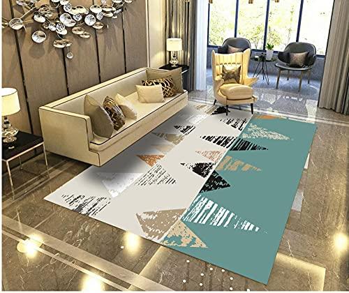 Alfombra SalóN Pelo Corto Moderna Antideslizante Suave Lavables para Comedor Pasillo Y HabitacióN Dormitorio Comedor Moderna DecoracióN Interior,TamañO:160x230cm-Triángulo Azul