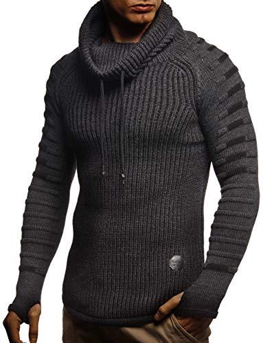Leif Nelson Herren-Strickpullover Woll-Pullover Schalkragen Moderner Pullover Sweatshirt LN5640; M; Anthra-Sch