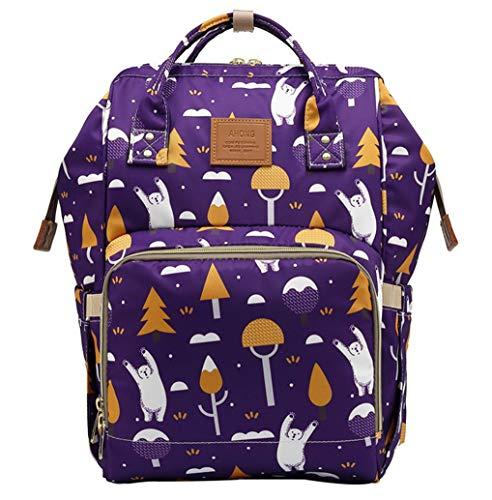 QIXINGHU Bolsa de pañales multifunción para el cuidado del bebé, bolsas de pañales, mochilas de viaje, gran capacidad