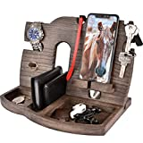 Wood Cell Phone Stand Smartwatch Wallet Holder. Man Cave Decor Multiple Gadget Dock Mobile Accessory Organizer. Nightstand Charging Docking Station Dad Wooden Desk Storage. Bed Side Dresser Valet Tray