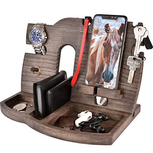 BarvA Wood Docking Station Tray Cell Phone Smartwatch Holder Men Charging Accessory Nightstand...