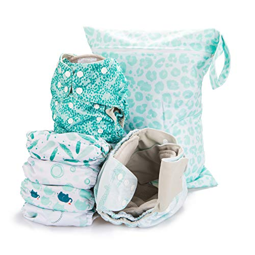 Simple Being Reusable Cloth Diapers- Double Gusset-6 Pack Pocket Adjustable Size-Waterproof Cover-6 Inserts-Wet Bag (Safari)