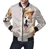 INTERESTPRINT Men's Long Sleeve Zip up Classic Jacket Dog Breed Akita Inu is Walking on Open Air 4XL