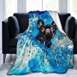 Flannel Fleece Novelty Throw Blanket, French Bulldog Black Dog Blue Abstract Graffiti Pattern Throw for Spring Work, Air Conditioning Blanket and Large Anti-Static 80x60 Inch