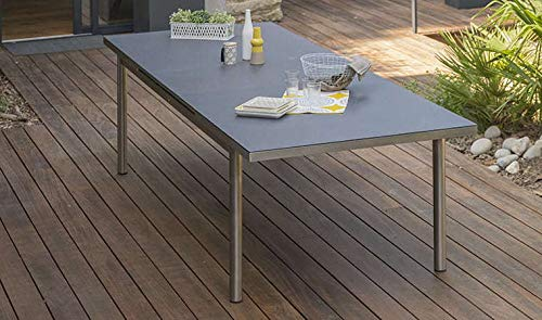 DCB GARDEN Palermo Table de Jardin, Acier Inoxydable, Gris, 180/240x110