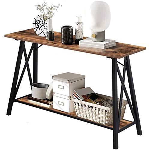 Tavolo Consolle,Tavolo da Ingresso,Consolle rustica a 2 livelli,Tavolino da Cocktail con Struttura in Metallo,120 * 40 * 75cm
