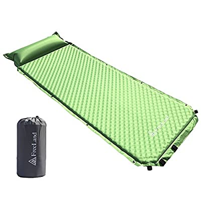 FreeLand Camping Sleeping Pad Self Inflating with Attached Pillow, Compact, Lightweight, Large, Green Color