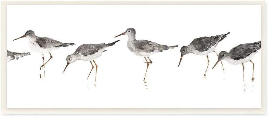 Stupell Industries Beach Bird Sandpipers Minimal Grey White Painting, Designed by Avery Tillmon Art, 7 x 17, Wall Plaque