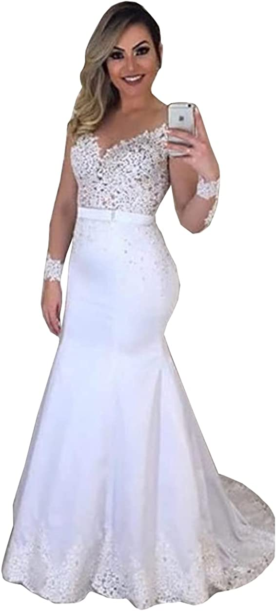Beaded Long Sleeve Lace Satin Corset Bridal Ball Gown with Train Mermaid Wedding Dresses for Bride
