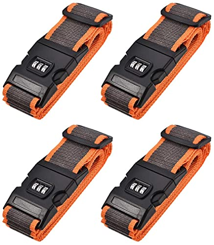 TXXM Mappa di approvvigionamento dei Bagagli Cinturini da valigie Cinture con Fibbia, Serratura a Combinazione, 2mx5cm Regolabile PP. Borsa da Viaggio Accessori per imballaggio, Grigio Arancione 4pcs