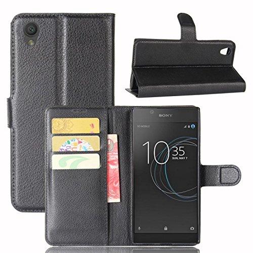 COPHONE® Etui Coque Housse de Protection Noir en Cuir pour Sony Xperia L1 Etui porteufeuille Noir Haute qualité pour Sony Xperia L1
