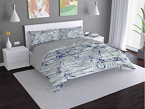 Toopeek Airplane hotel bed linen Old-Airplane-Drawing polyester - soft and breathable (King)