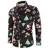 DEELIN Navidad Camisa De Manga Larga, Los Hombres Copos De Nieve Casual Santa Candy Impresa Camisa De Navidad Blusa Superior