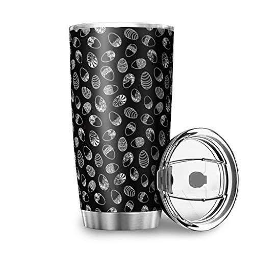Dessionop Botella de agua Tumbler de color blanco y negro, con diseño de huevos de Pascua, 20 onzas, antigoteo, tapa de color blanco, 600 ml