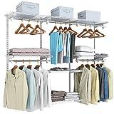 COSTWAY offener Kleiderschrank Wandschrank, Wandregal Verstellbar mit Kleiderstange&Regale,...