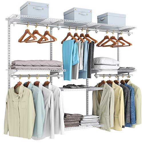 Tangkula 4 to 6 FT Custom Closet System Wall Mounted Closet Maid with Hanging Rod Metal Hanging Storage Organizer Rack Wardrobe with Shelves Adjustable Closet System Kit for Bedroom
