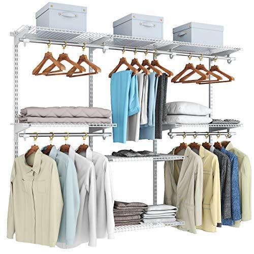COSTWAY offener Kleiderschrank Wandschrank, Wandregal Verstellbar mit Kleiderstange&Regale, Schranksystem Lagerregal aus Metall, Aufbewahrungsregal Schrank für Küche Schlafzimmer