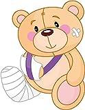 Zirni Cartoon Bandaged Sick Teddy-Bear Sticker Decal Design 3'' X 5''