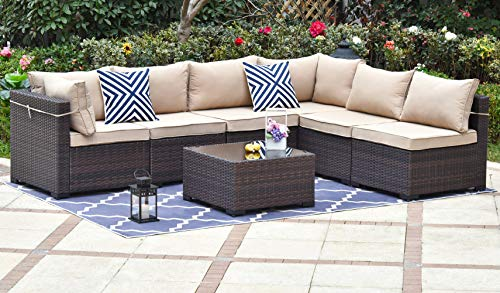 Gotland Outdoor Patio Furniture Set 7 Pieces Sectional Rattan Sofa Set Manual Wicker Patio Conversation Set with A Tempered Class Table and 6 Seat Cushions Brown/Sand