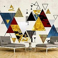 3D 壁紙現代抽象三角形幾何壁画不織布リビングルームのテレビの背景アート壁壁画-200x140cm