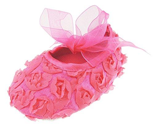 Nœud floral recouvert de rose pour chaussures de bébé 0-9 mois (3-6 mois 10 cm, ruban fuchsia)