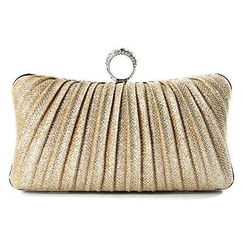 iwish Womens Golden Glitter Clutch Purse Pleated Evening Bag for Bridal Wedding Party (Golden)