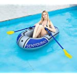 Inflatable kayak set fishing boat drifting diving rowing air boat with oars for kids adults 11 the inflatable boat can hold up to 90kg/198lb, suitable for 1-2 person, the float pool boat is made of thick pvc material, skin-friendly and durable the touring kayaks set package with paddles and a simple air pump(not electric), comfortable for you to sit inflatable dinghy boat is made of premium pvc material, which is stable and pressure resistance. The inflatable boat can be folded, easy to carry and storage