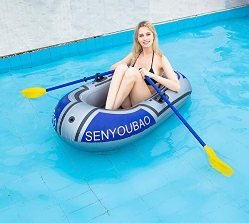 Inflatable kayak set fishing boat drifting diving rowing air boat with oars for kids adults 4 the inflatable boat can hold up to 90kg/198lb, suitable for 1-2 person, the float pool boat is made of thick pvc material, skin-friendly and durable the touring kayaks set package with paddles and a simple air pump(not electric), comfortable for you to sit inflatable dinghy boat is made of premium pvc material, which is stable and pressure resistance. The inflatable boat can be folded, easy to carry and storage