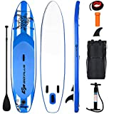 "Goplus Inflatable Stand Up Paddle Board, 6.5"" Thick SUP with Carry Bag, Adjustable Paddle, Bottom Fin, Hand Pump, Non-Slip Deck, Leash, Repair Kit (Navy, 10.6 Ft)"