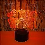 FREEZG luz bebe nocturna Animal orejas grandes niño Lámpara de Luz 3D 7 Colores Cambian con Control Remoto Ideas de Festivo y Regalos para Niños Niñas y Adultos