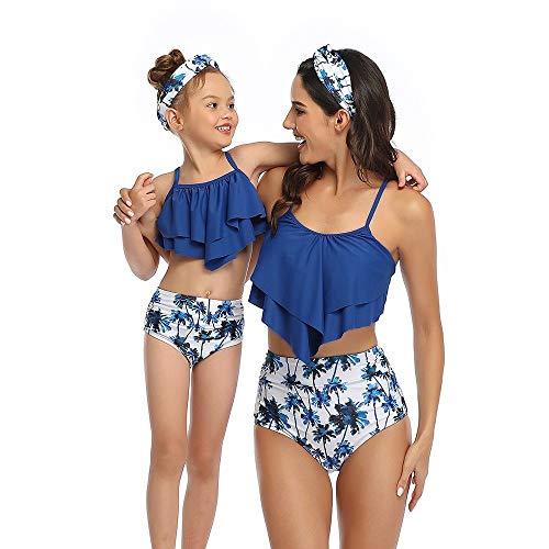 GGXX Bikini de Cintura Alta con Hombros Descubiertos y Volantes Trajes de baño Traje de baño para Madre e Hija Bikini para niños Adultos Traje de baño con Estampado de Dos Piezas